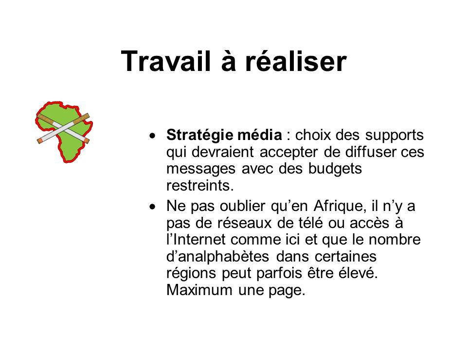 Travail à réaliser Stratégie média : choix des supports qui devraient accepter de diffuser ces messages avec des budgets restreints.