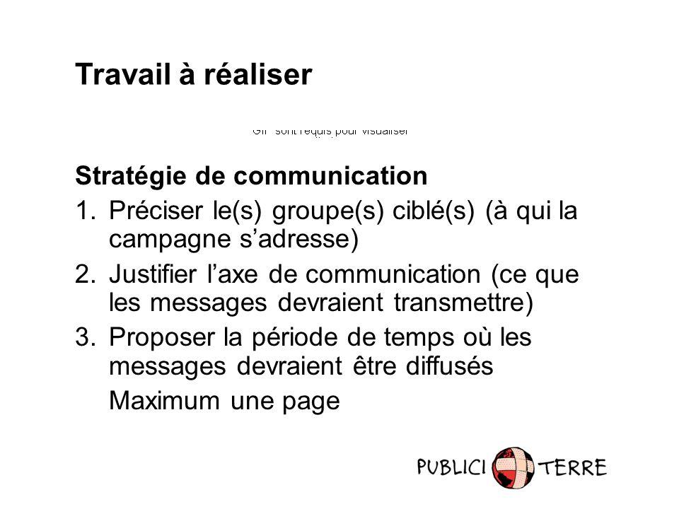 Travail à réaliser Stratégie de communication 1.