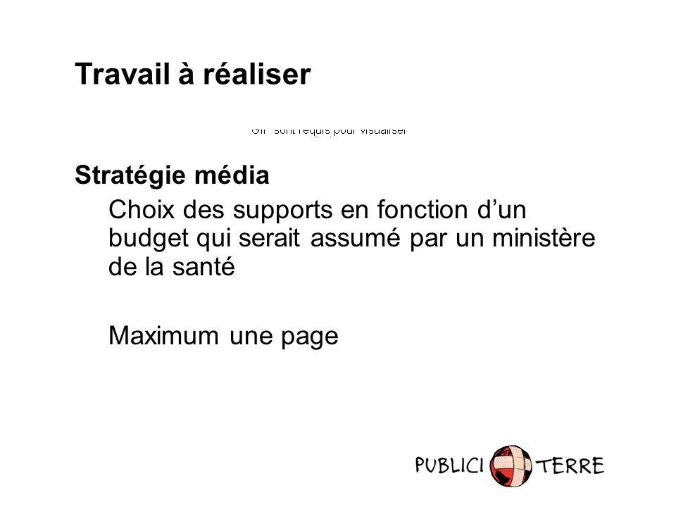 Travail à réaliser Stratégie média Choix des supports en fonction dun budget qui serait assumé par un ministère de la santé Maximum une page