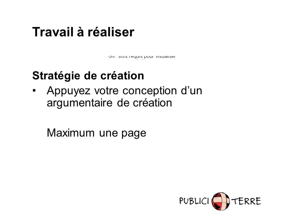 Travail à réaliser Stratégie de création Appuyez votre conception dun argumentaire de création Maximum une page