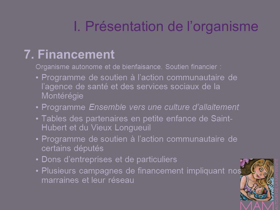 I. Présentation de lorganisme 7. Financement Organisme autonome et de bienfaisance. Soutien financier : Programme de soutien à laction communautaire d