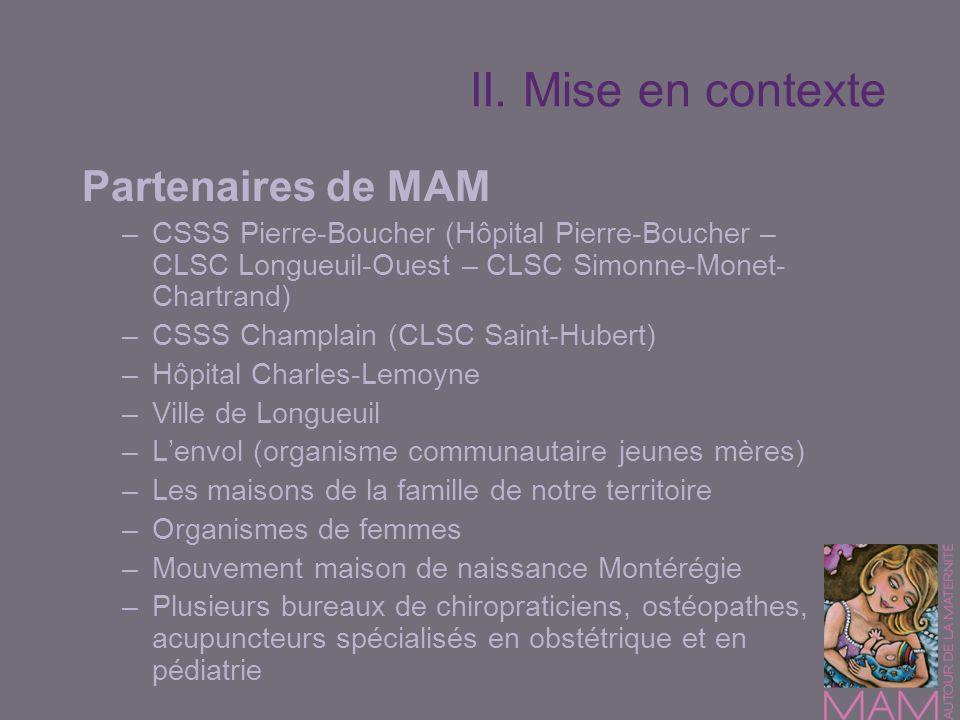 II. Mise en contexte Partenaires de MAM –CSSS Pierre-Boucher (Hôpital Pierre-Boucher – CLSC Longueuil-Ouest – CLSC Simonne-Monet- Chartrand) –CSSS Cha