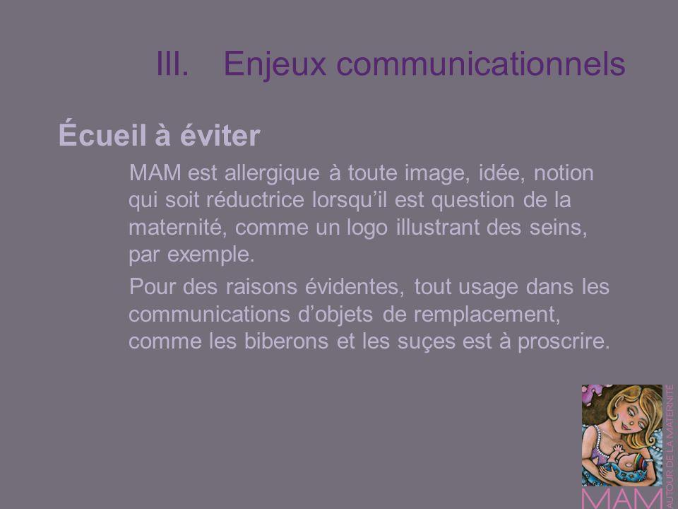 III.Enjeux communicationnels Écueil à éviter MAM est allergique à toute image, idée, notion qui soit réductrice lorsquil est question de la maternité,