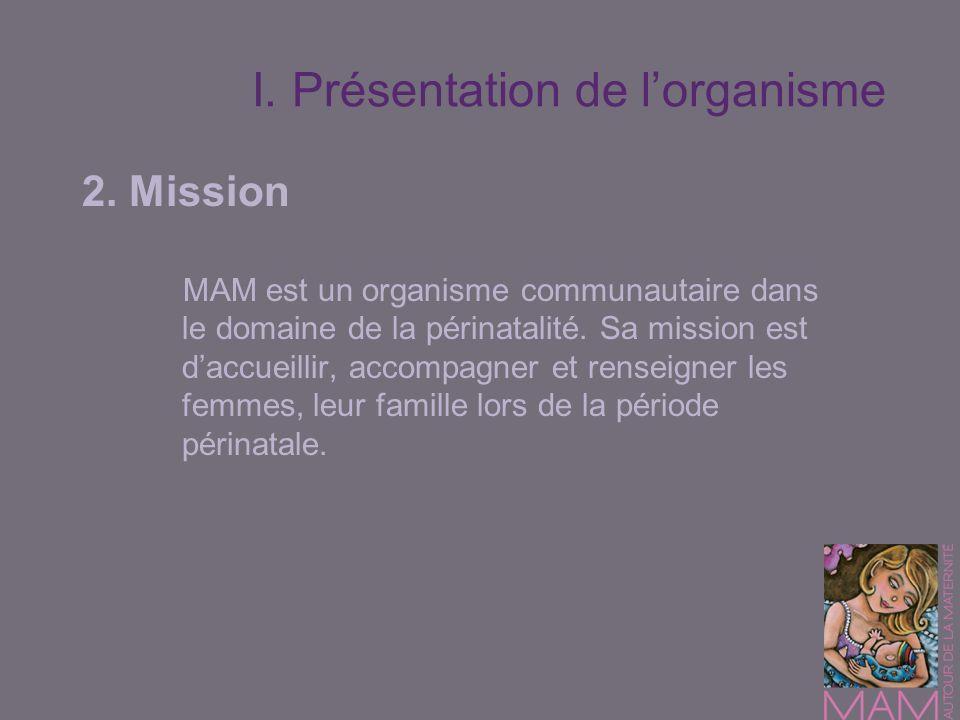 I. Présentation de lorganisme 2. Mission MAM est un organisme communautaire dans le domaine de la périnatalité. Sa mission est daccueillir, accompagne