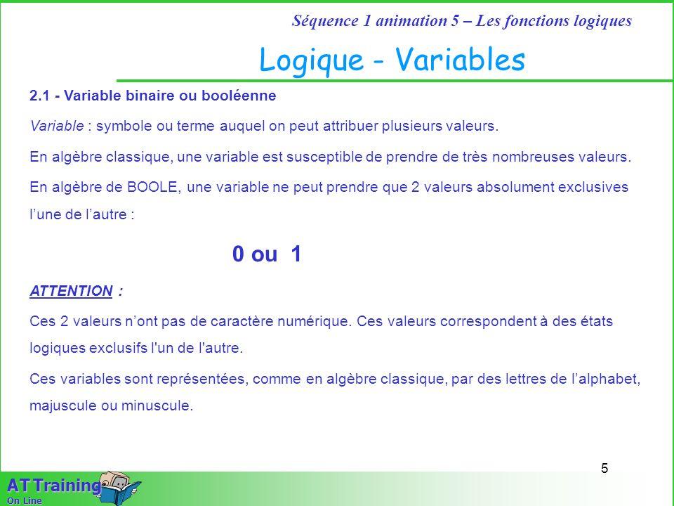 5 Séquence 1 animation 5 – Les fonctions logiques A T Training On Line Logique - Variables 2.1 - Variable binaire ou booléenne Variable : symbole ou t