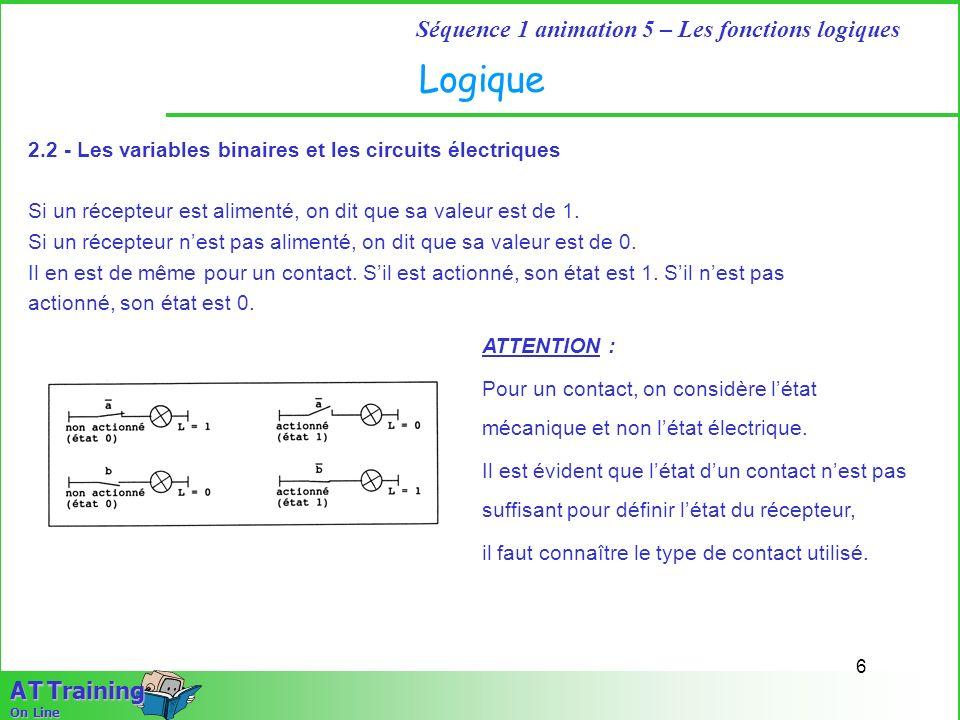 6 Séquence 1 animation 5 – Les fonctions logiques A T Training On Line Logique 2.2 - Les variables binaires et les circuits électriques Si un récepteu