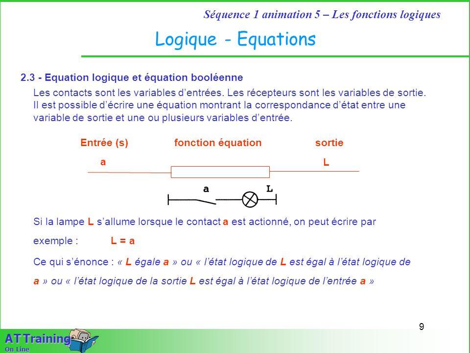 9 Séquence 1 animation 5 – Les fonctions logiques A T Training On Line Logique - Equations Les contacts sont les variables dentrées. Les récepteurs so