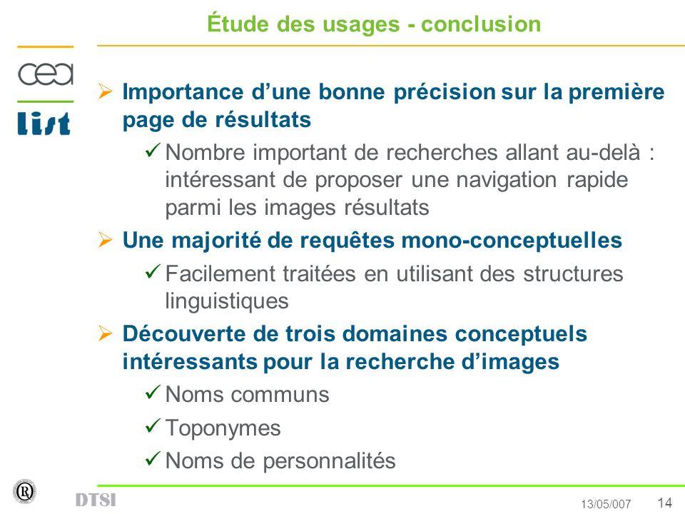 14 13/05/007 DTSI Étude des usages - conclusion Importance dune bonne précision sur la première page de résultats Nombre important de recherches allan