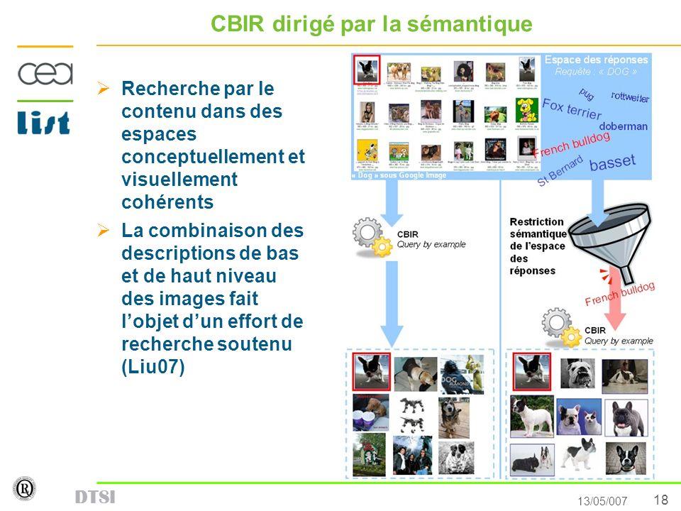 18 13/05/007 DTSI CBIR dirigé par la sémantique Recherche par le contenu dans des espaces conceptuellement et visuellement cohérents La combinaison de