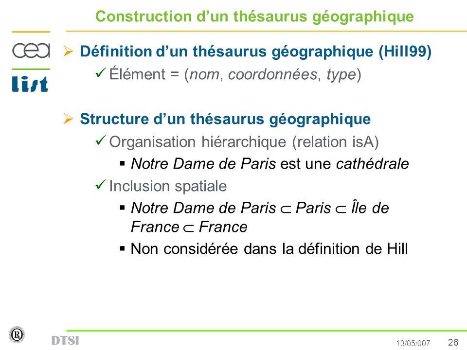 26 13/05/007 DTSI Construction dun thésaurus géographique Définition dun thésaurus géographique (Hill99) Élément = (nom, coordonnées, type) Structure