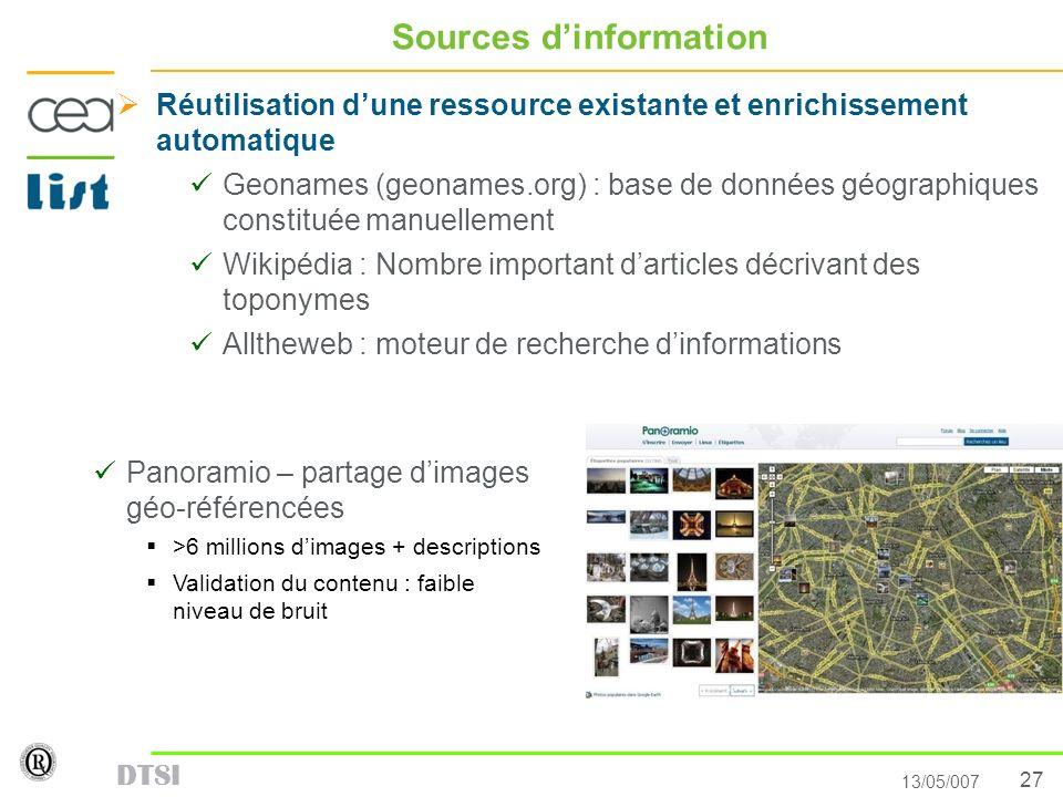 27 13/05/007 DTSI Sources dinformation Réutilisation dune ressource existante et enrichissement automatique Geonames (geonames.org) : base de données