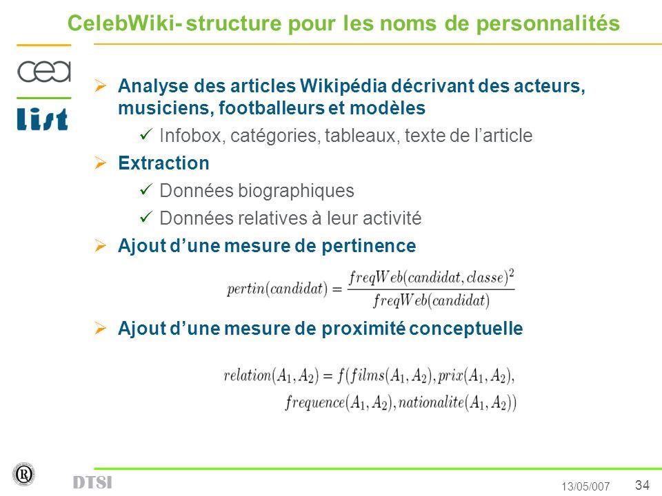 34 13/05/007 DTSI CelebWiki- structure pour les noms de personnalités Analyse des articles Wikipédia décrivant des acteurs, musiciens, footballeurs et