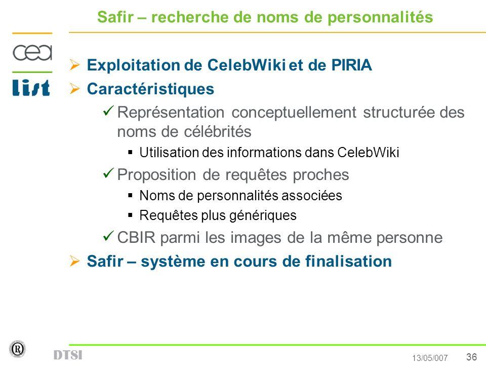 36 13/05/007 DTSI Safir – recherche de noms de personnalités Exploitation de CelebWiki et de PIRIA Caractéristiques Représentation conceptuellement st