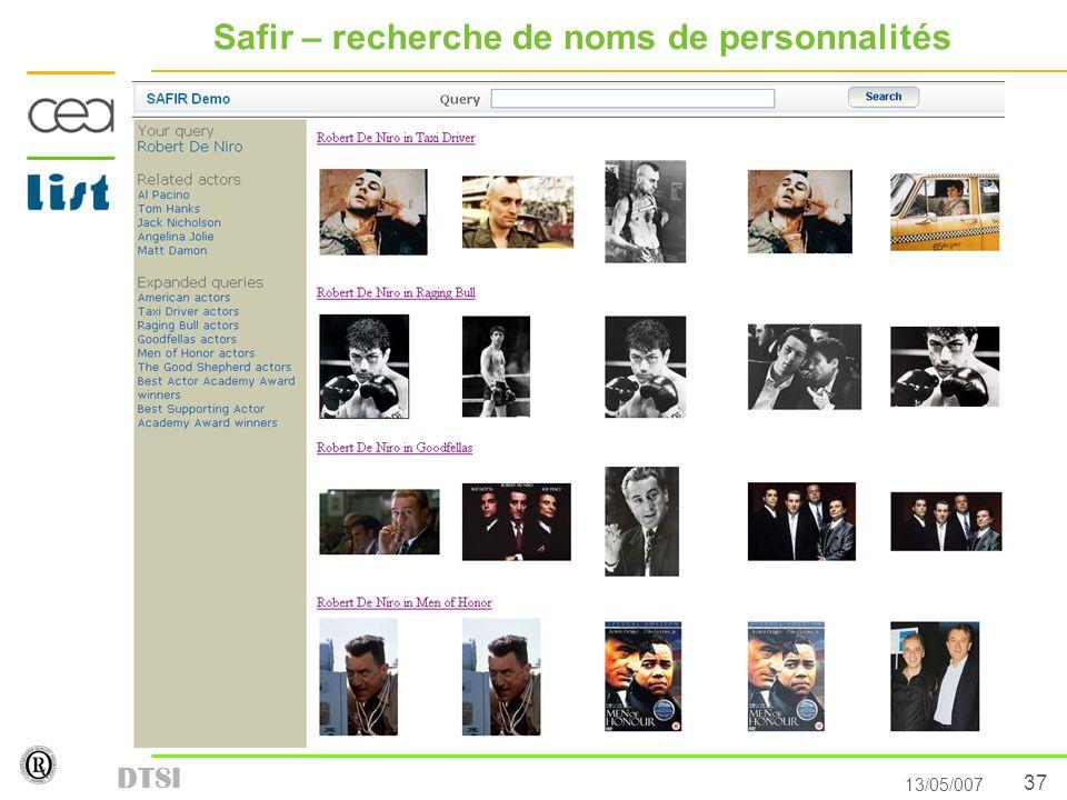 37 13/05/007 DTSI Safir – recherche de noms de personnalités