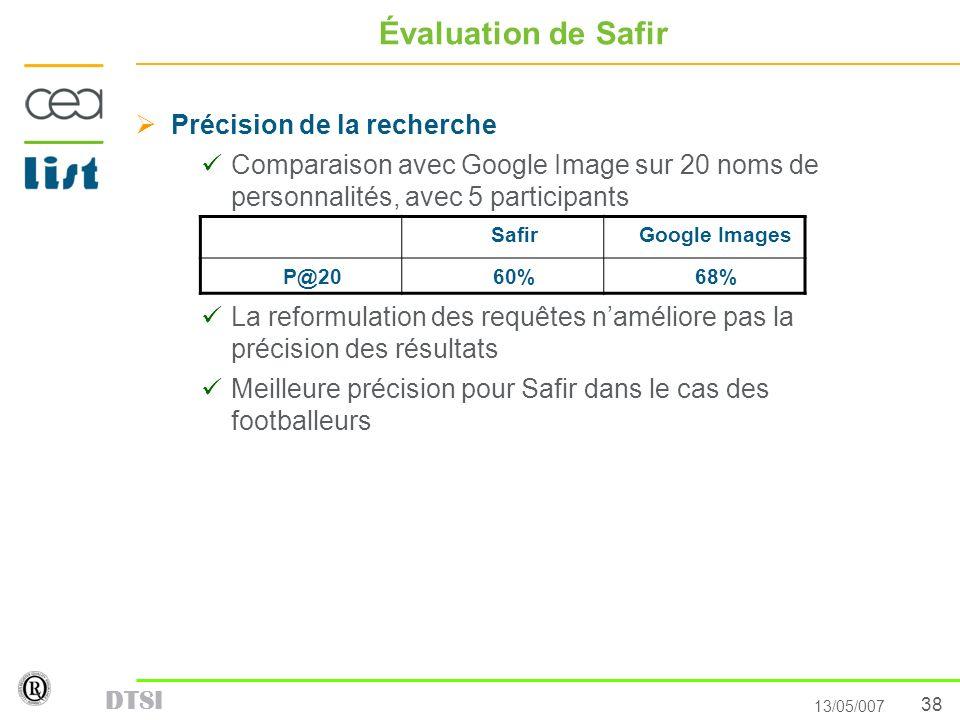 38 13/05/007 DTSI Évaluation de Safir Précision de la recherche Comparaison avec Google Image sur 20 noms de personnalités, avec 5 participants La ref