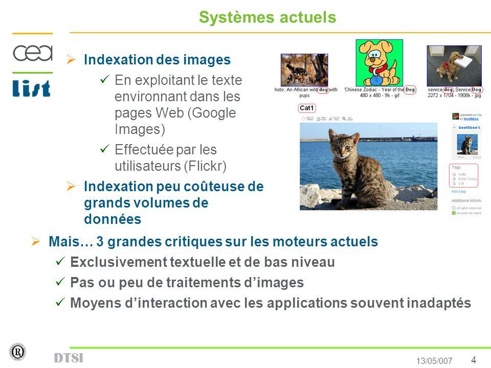 4 13/05/007 DTSI Systèmes actuels Indexation des images En exploitant le texte environnant dans les pages Web (Google Images) Effectuée par les utilis