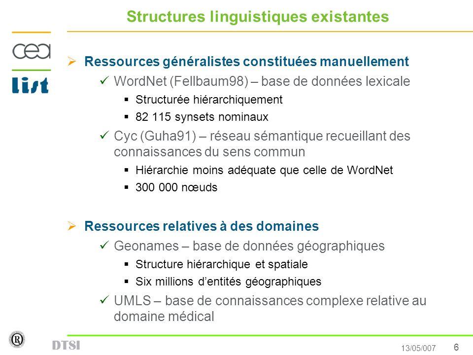 6 13/05/007 DTSI Structures linguistiques existantes Ressources généralistes constituées manuellement WordNet (Fellbaum98) – base de données lexicale