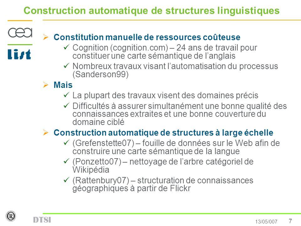 7 13/05/007 DTSI Construction automatique de structures linguistiques Constitution manuelle de ressources coûteuse Cognition (cognition.com) – 24 ans