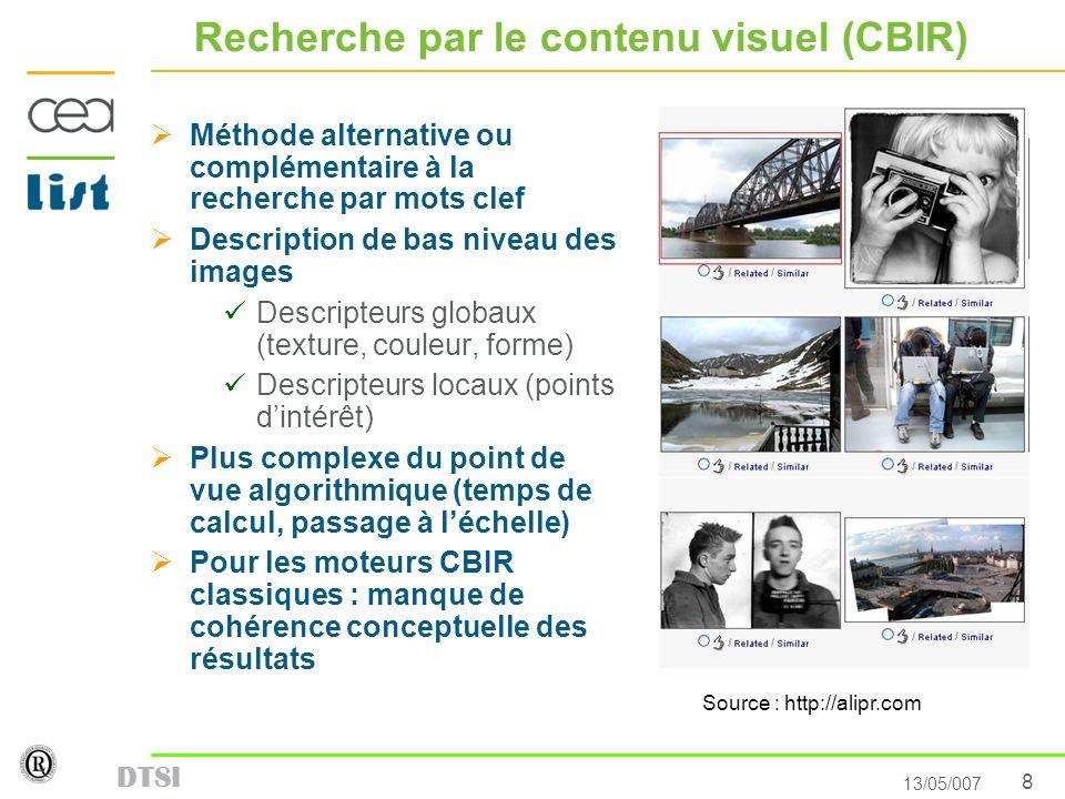 8 13/05/007 DTSI Recherche par le contenu visuel (CBIR) Méthode alternative ou complémentaire à la recherche par mots clef Description de bas niveau d