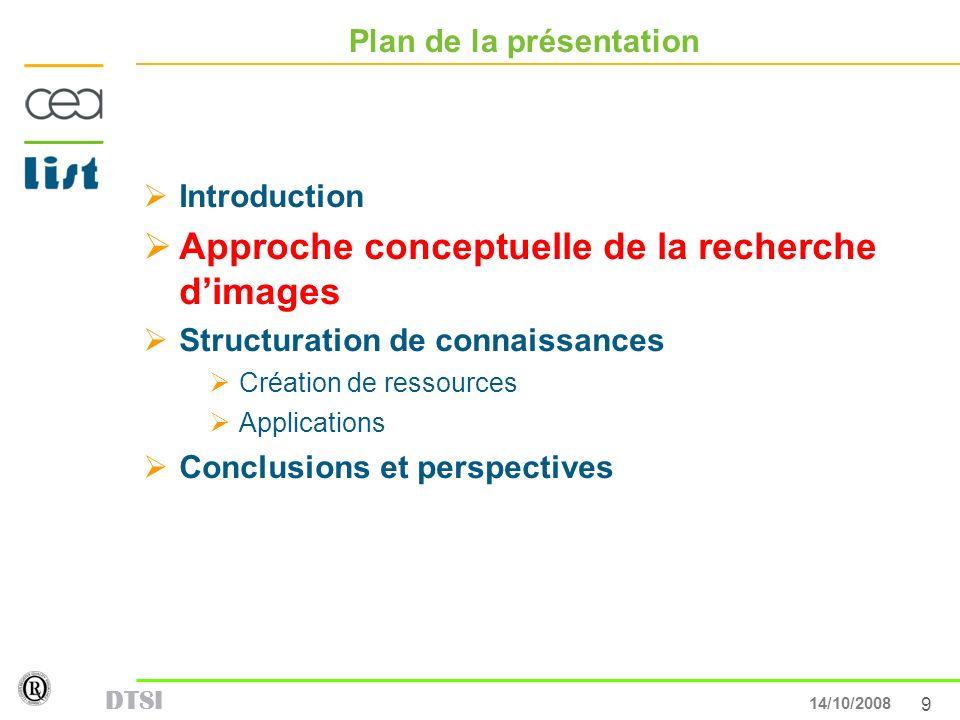 9 13/05/007 DTSI 14/10/2008 Plan de la présentation Introduction Approche conceptuelle de la recherche dimages Structuration de connaissances Création