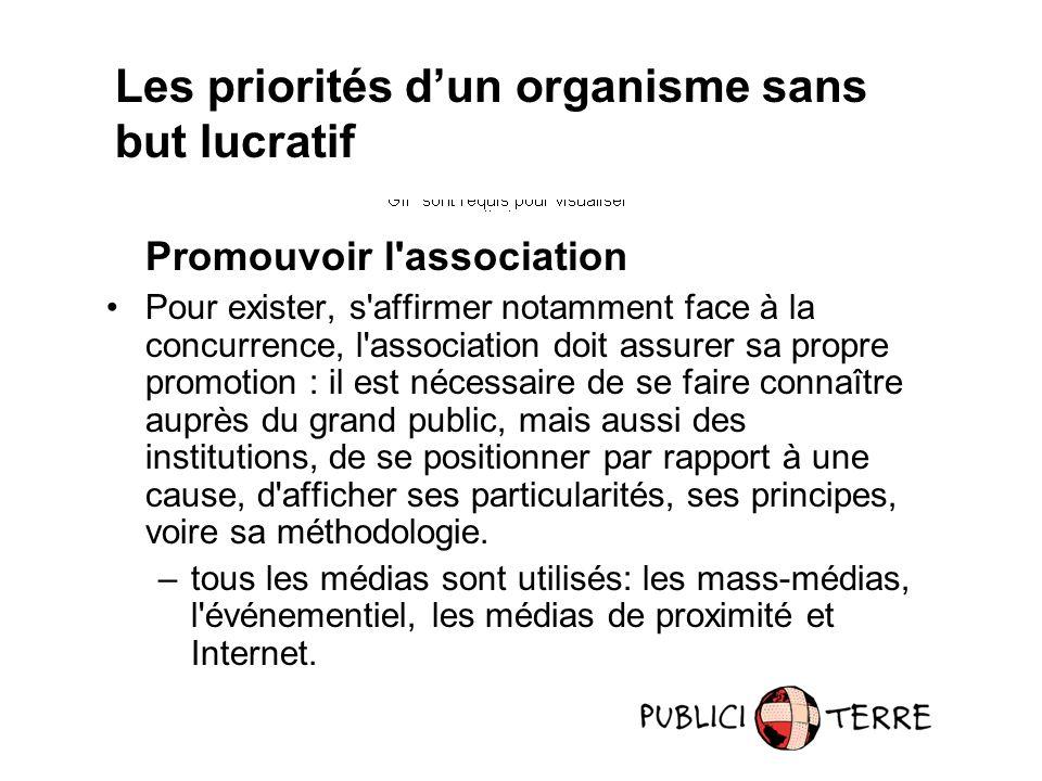Promouvoir l'association Pour exister, s'affirmer notamment face à la concurrence, l'association doit assurer sa propre promotion : il est nécessaire