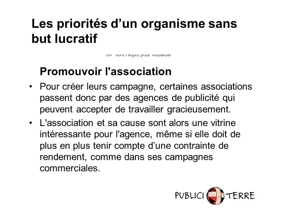 Promouvoir l'association Pour créer leurs campagne, certaines associations passent donc par des agences de publicité qui peuvent accepter de travaille