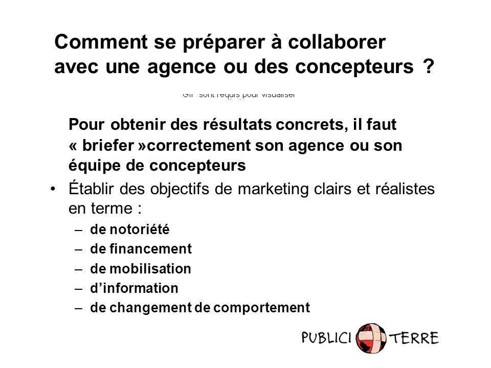 Pour obtenir des résultats concrets, il faut « briefer »correctement son agence ou son équipe de concepteurs Établir des objectifs de marketing clairs