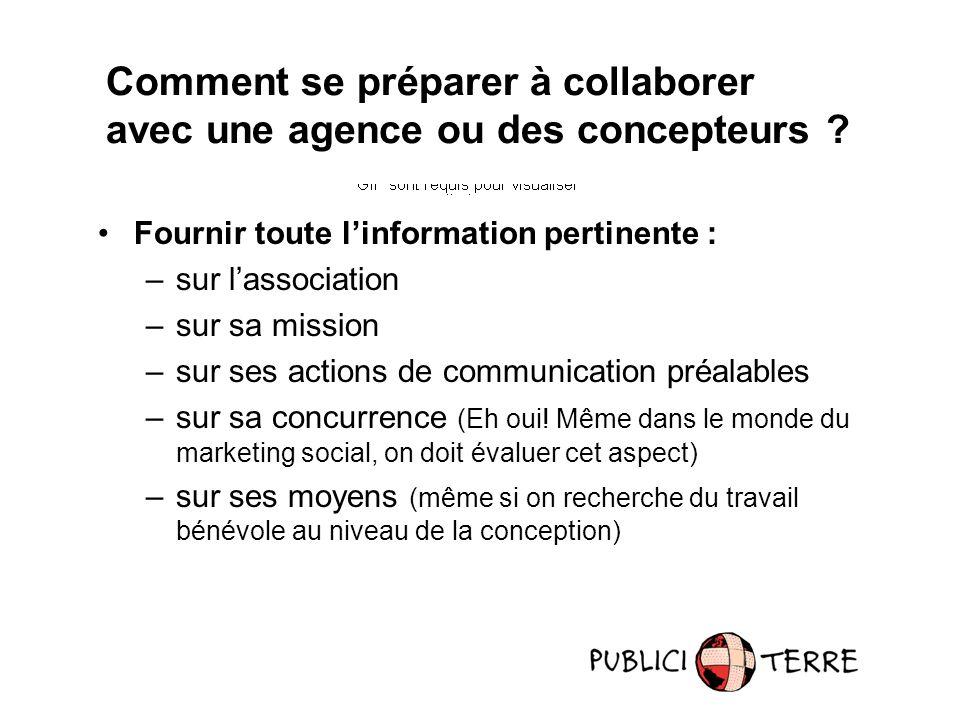 Fournir toute linformation pertinente : –sur lassociation –sur sa mission –sur ses actions de communication préalables –sur sa concurrence (Eh oui! Mê