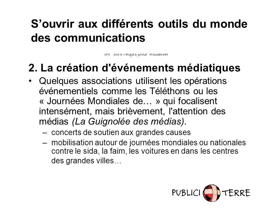 2. La création d'événements médiatiques Quelques associations utilisent les opérations événementiels comme les Téléthons ou les « Journées Mondiales d