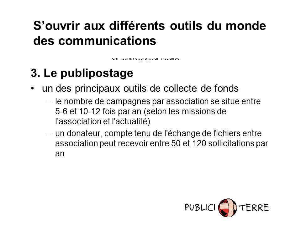 3. Le publipostage un des principaux outils de collecte de fonds –le nombre de campagnes par association se situe entre 5-6 et 10-12 fois par an (selo