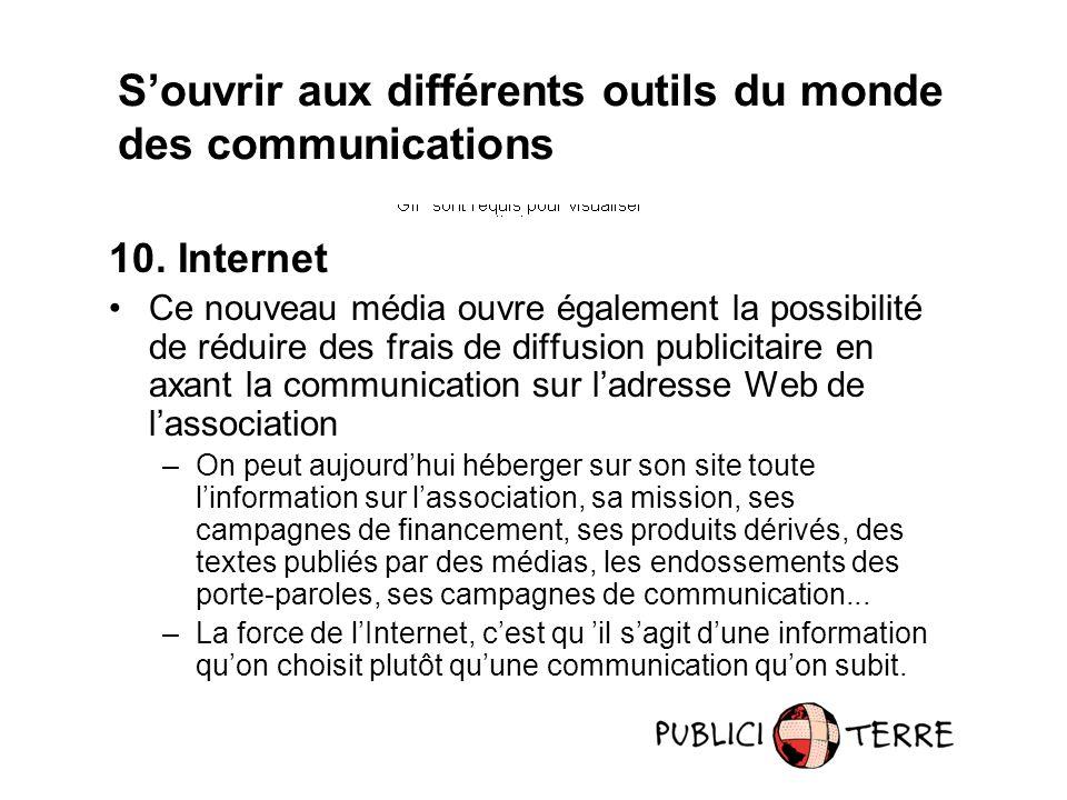10. Internet Ce nouveau média ouvre également la possibilité de réduire des frais de diffusion publicitaire en axant la communication sur ladresse Web