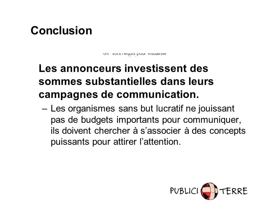Les annonceurs investissent des sommes substantielles dans leurs campagnes de communication. –Les organismes sans but lucratif ne jouissant pas de bud