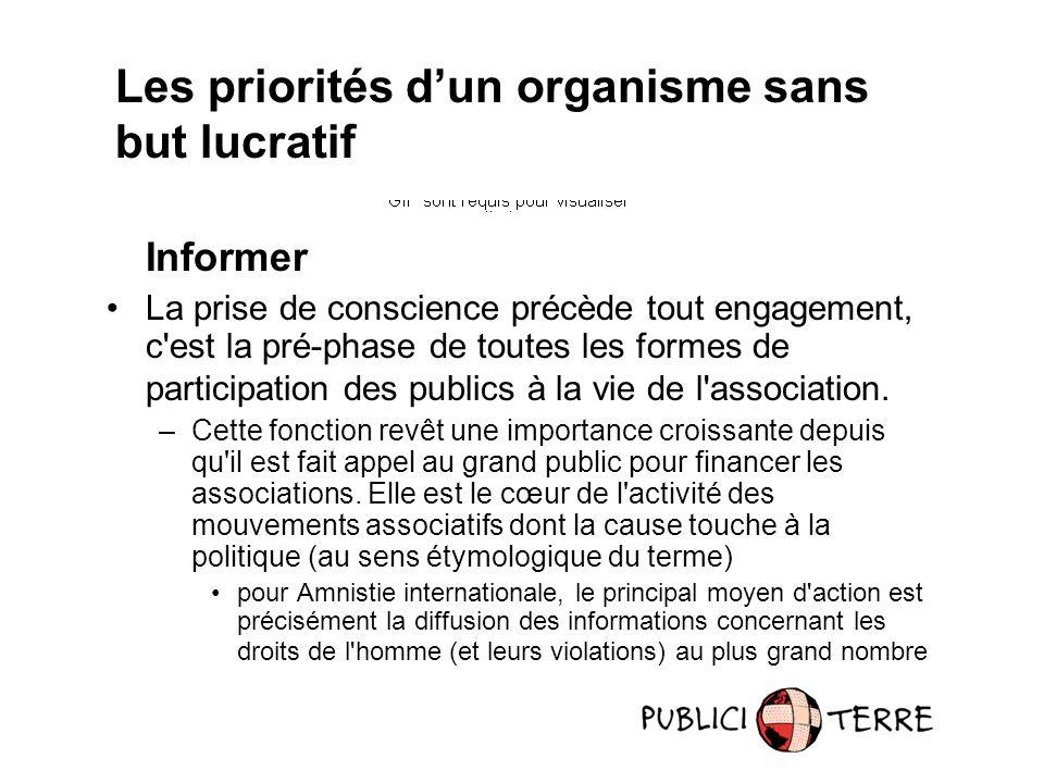 Informer La prise de conscience précède tout engagement, c'est la pré-phase de toutes les formes de participation des publics à la vie de l'associatio
