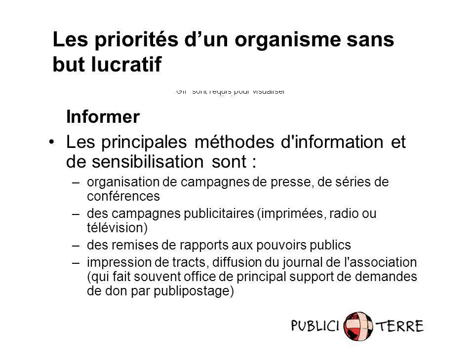 Informer Les principales méthodes d'information et de sensibilisation sont : –organisation de campagnes de presse, de séries de conférences –des campa