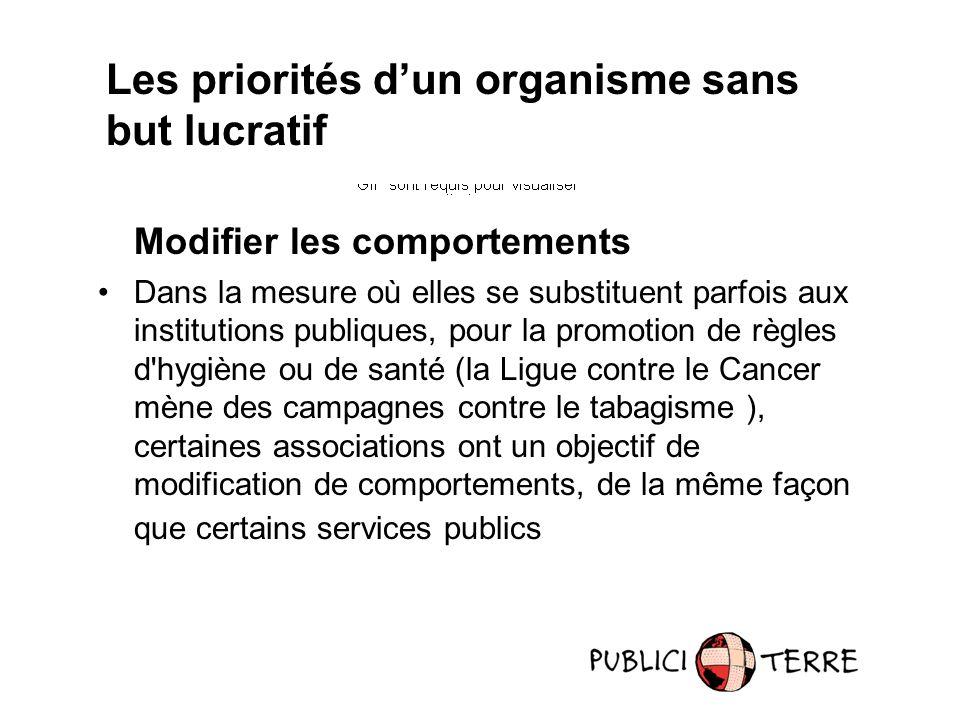 Modifier les comportements Dans la mesure où elles se substituent parfois aux institutions publiques, pour la promotion de règles d'hygiène ou de sant