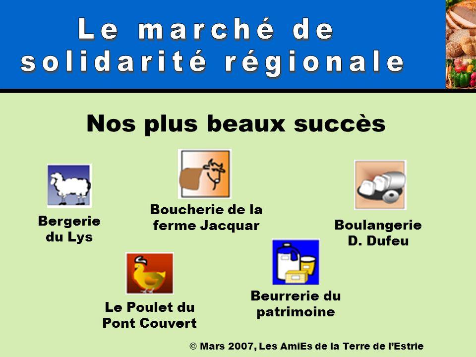 © Mars 2007, Les AmiEs de la Terre de lEstrie Nos plus beaux succès Bergerie du Lys Le Poulet du Pont Couvert Boucherie de la ferme Jacquar Boulangerie D.