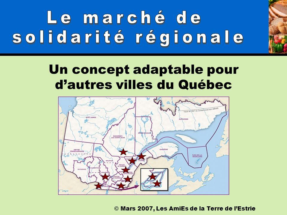 © Mars 2007, Les AmiEs de la Terre de lEstrie Un concept adaptable pour dautres villes du Québec