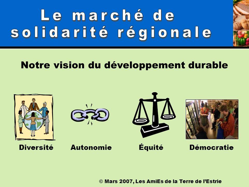 © Mars 2007, Les AmiEs de la Terre de lEstrie Notre vision du développement durable DiversitéÉquitéAutonomie Démocratie
