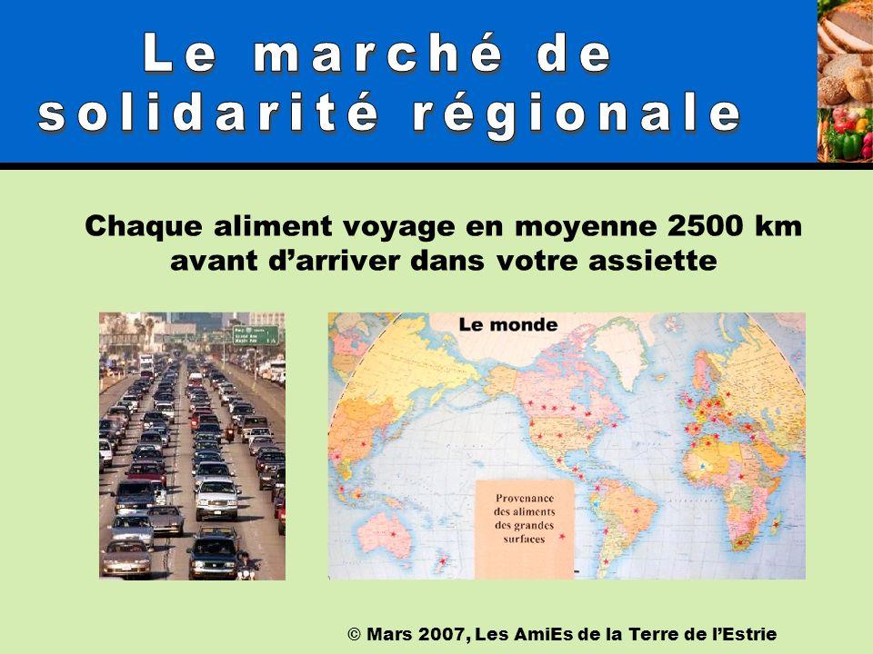 Chaque aliment voyage en moyenne 2500 km avant darriver dans votre assiette © Mars 2007, Les AmiEs de la Terre de lEstrie