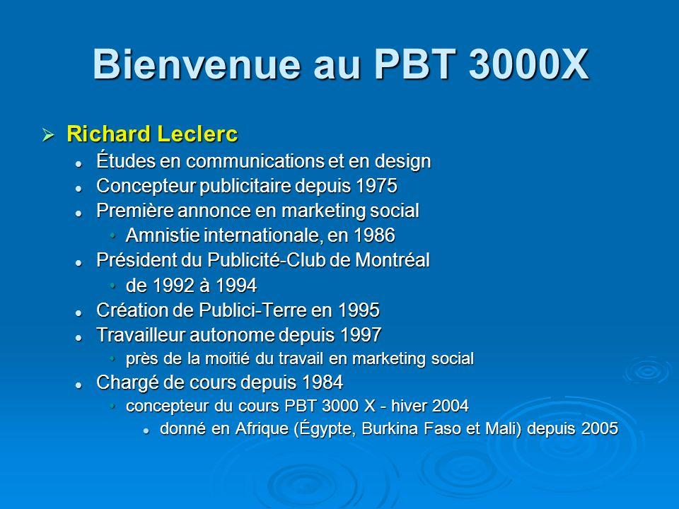 Bienvenue au PBT 3000X Description du cours Description du cours Nature, rôles et approches publicitaires pour organismes sans but lucratif et pour causes sociétales ou humanitaires.