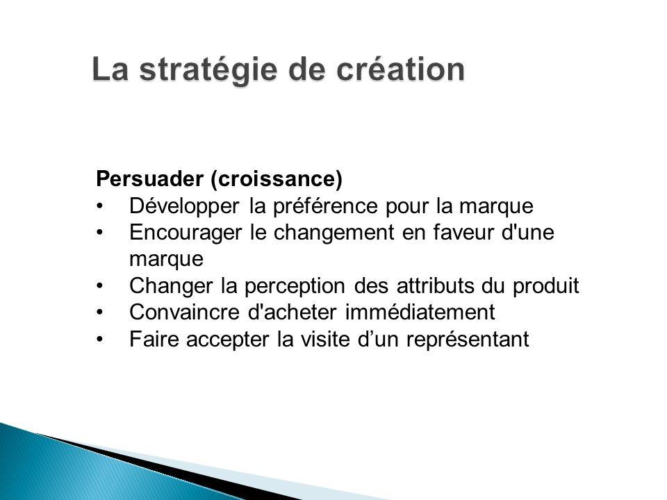 Persuader (croissance) Développer la préférence pour la marque Encourager le changement en faveur d'une marque Changer la perception des attributs du