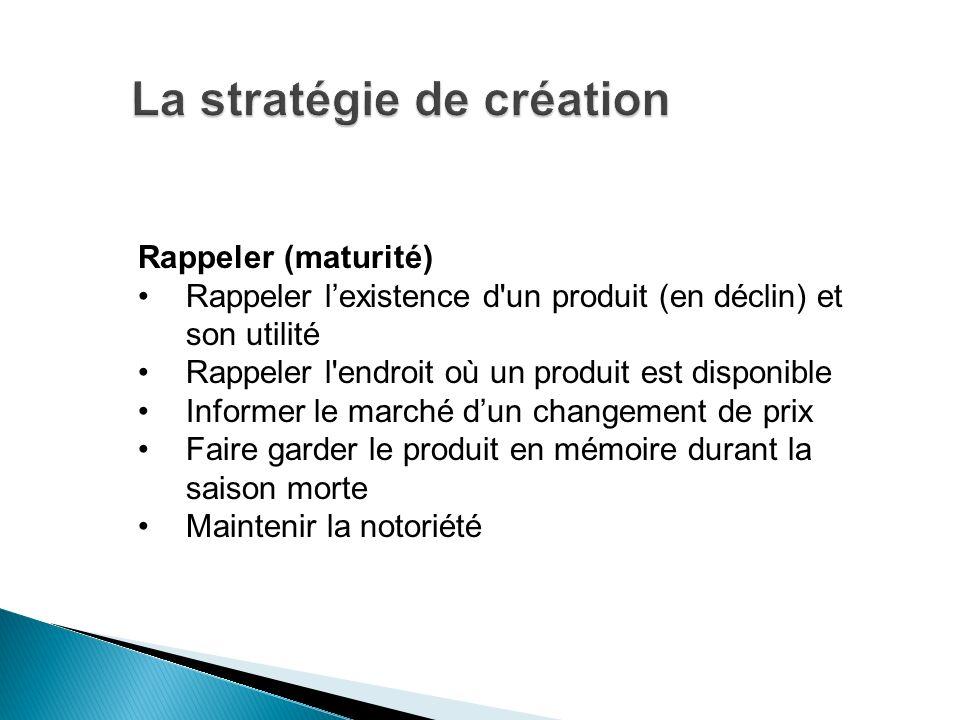 Rappeler (maturité) Rappeler lexistence d'un produit (en déclin) et son utilité Rappeler l'endroit où un produit est disponible Informer le marché dun