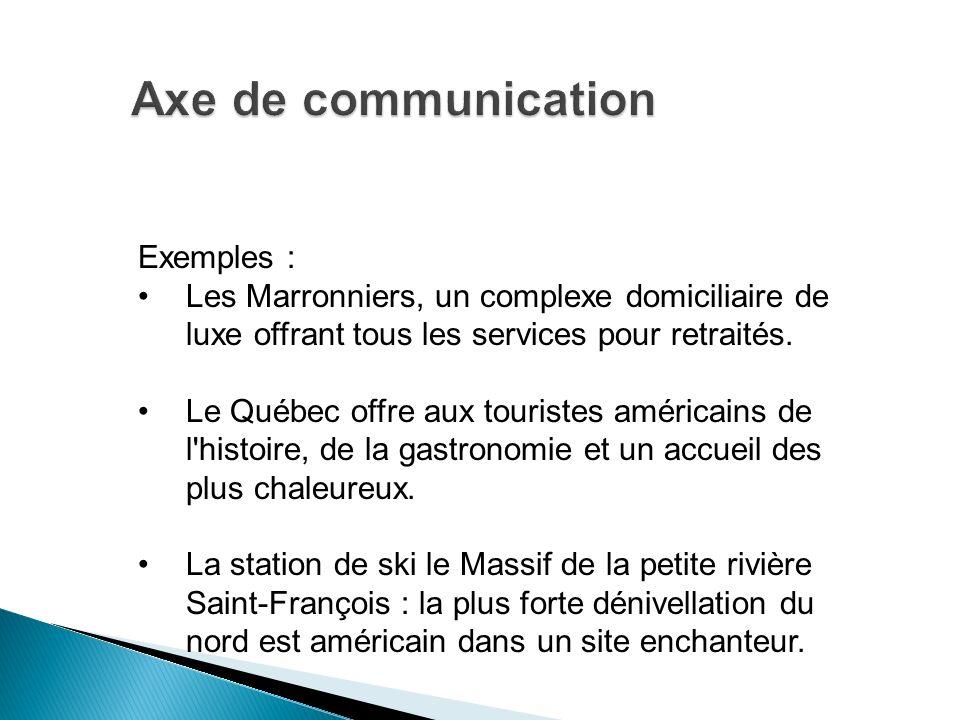 Exemples : Les Marronniers, un complexe domiciliaire de luxe offrant tous les services pour retraités. Le Québec offre aux touristes américains de l'h