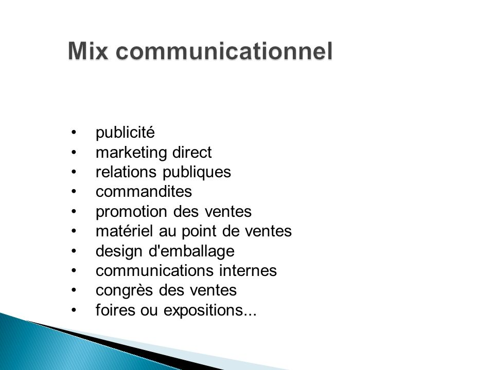 publicité marketing direct relations publiques commandites promotion des ventes matériel au point de ventes design d'emballage communications internes