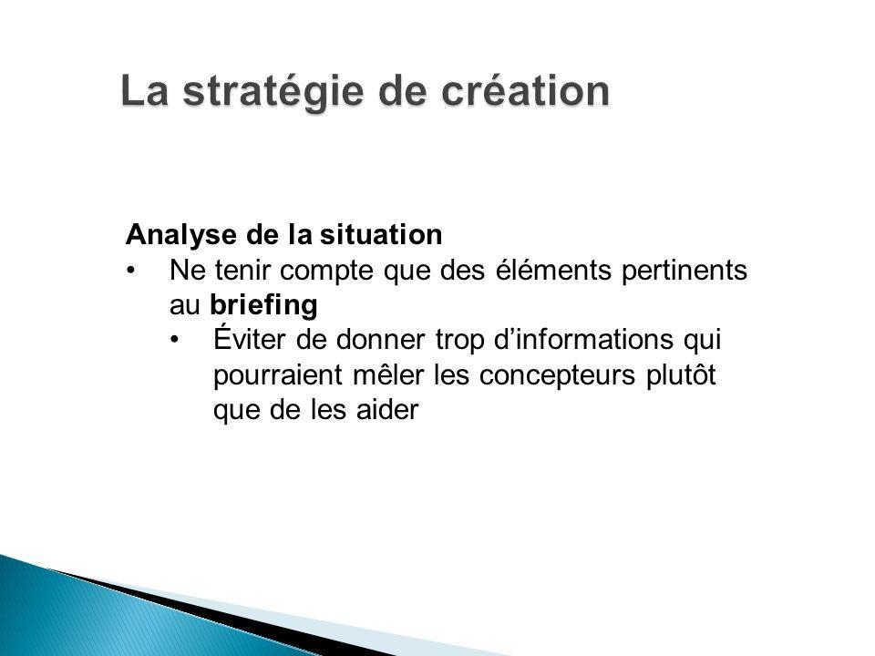 Analyse de la situation Ne tenir compte que des éléments pertinents au briefing Éviter de donner trop dinformations qui pourraient mêler les concepteu