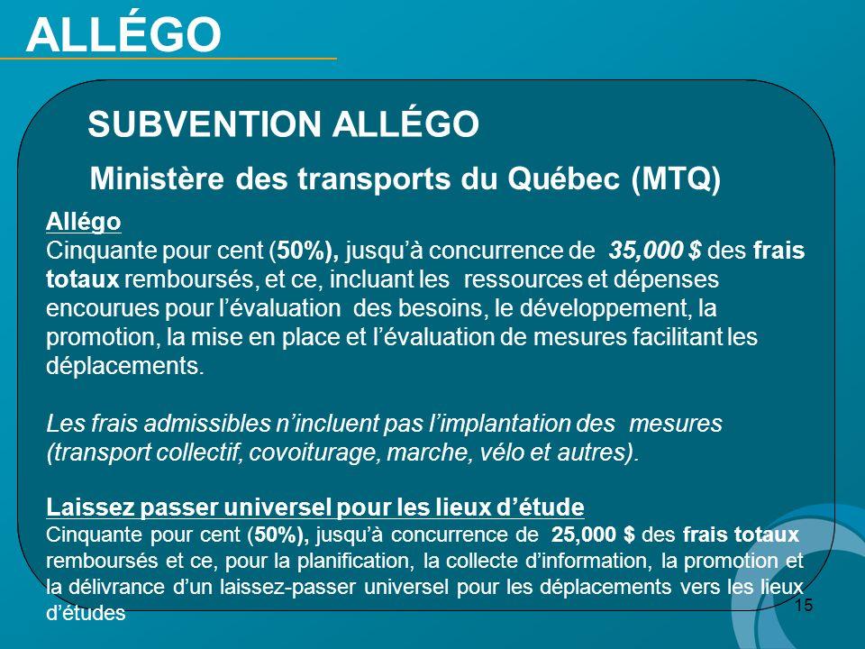 15 SUBVENTION ALLÉGO Ministère des transports du Québec (MTQ) Allégo Cinquante pour cent (50%), jusquà concurrence de 35,000 $ des frais totaux rembou