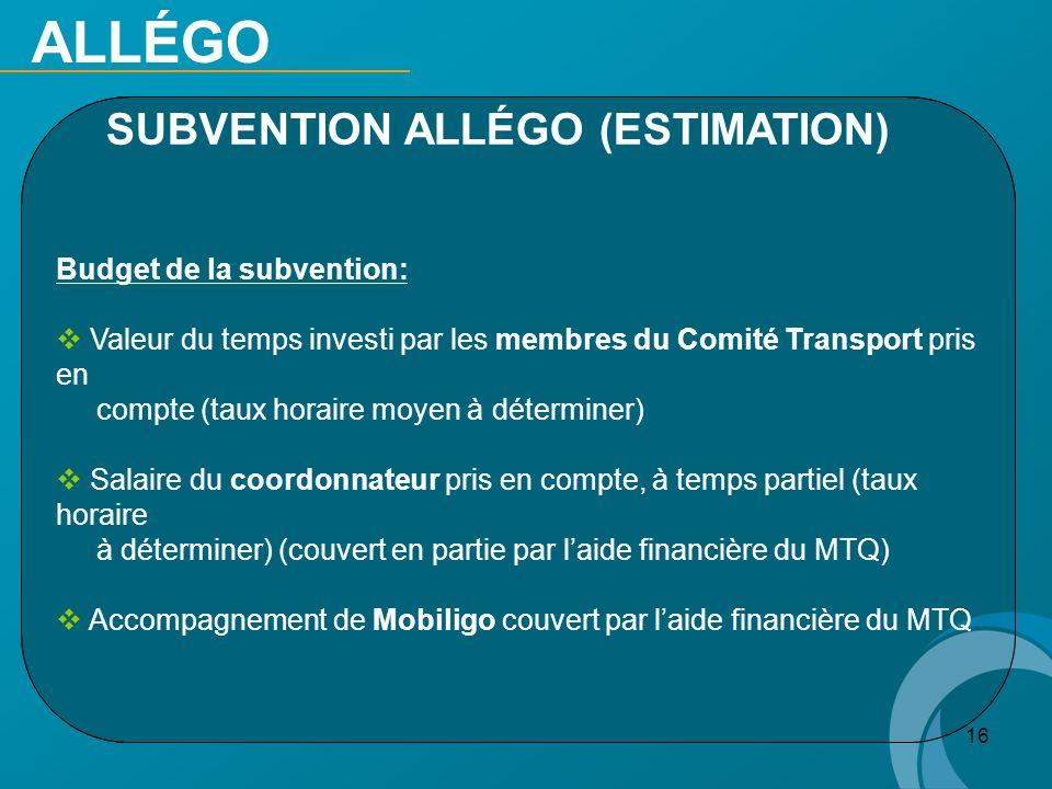 16 ALLÉGO SUBVENTION ALLÉGO (ESTIMATION) Budget de la subvention: Valeur du temps investi par les membres du Comité Transport pris en compte (taux hor