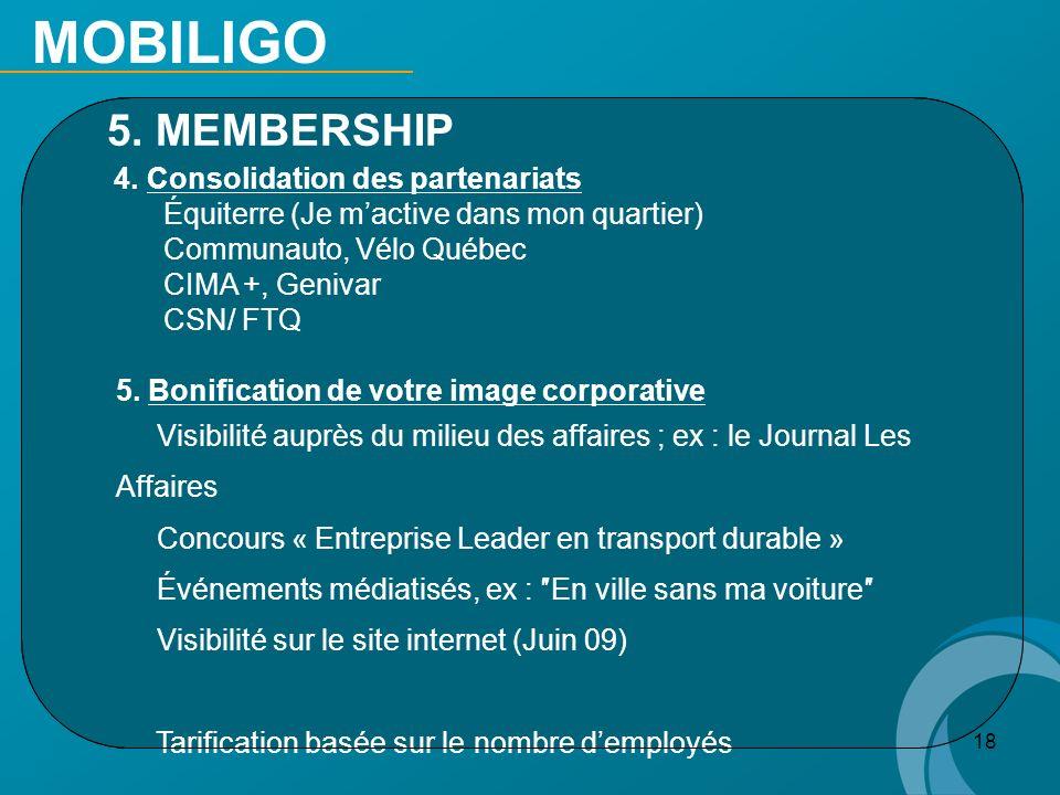 18 5. MEMBERSHIP 4. Consolidation des partenariats Équiterre (Je mactive dans mon quartier) Communauto, Vélo Québec CIMA +, Genivar CSN/ FTQ 5. Bonifi