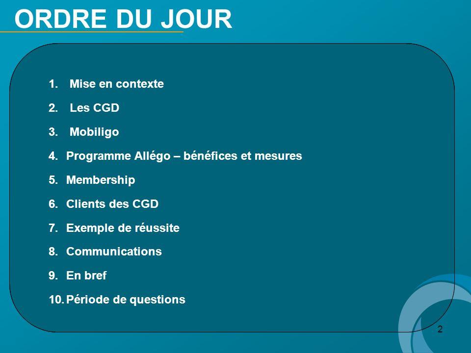 2 ORDRE DU JOUR 1. 1. Mise en contexte 2. 2. Les CGD 3. 3. Mobiligo 4. 4.Programme Allégo – bénéfices et mesures 5. 5.Membership 6. 6.Clients des CGD