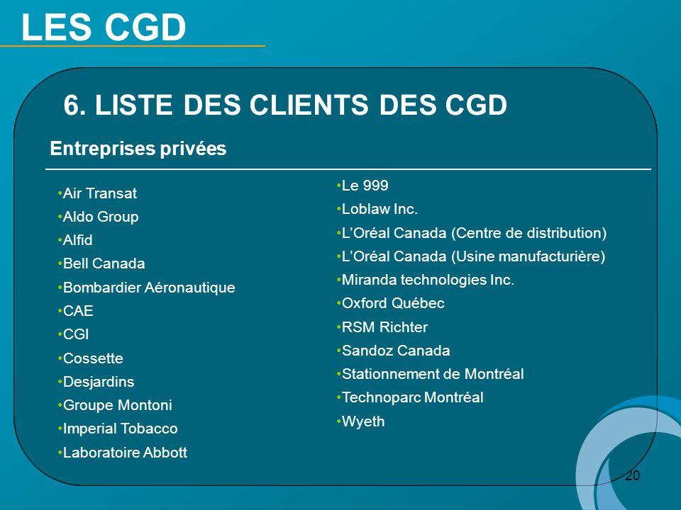 20 Entreprises privées Air Transat Aldo Group Alfid Bell Canada Bombardier Aéronautique CAE CGI Cossette Desjardins Groupe Montoni Imperial Tobacco La